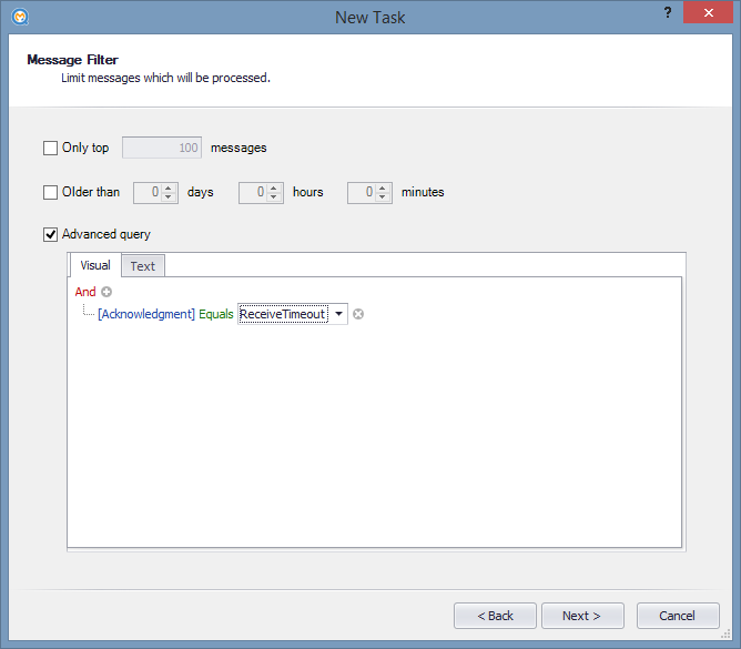 Message filter for ReceiveTimeout